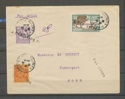 1931 Env. NOUMEA-KONE, Petite Griffe AVION Obl 3 Timbres, Superbe X5179 - France (ex-colonies & Protectorats)