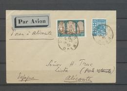 14.7.1935 Env ORAN-ALICANTE Obl Oran Càd ALICANTE, Saulgrain 216a, Rare TB X5186 - France (ex-colonies & Protectorats)