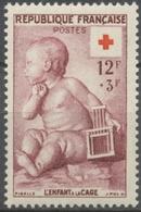 Au Profit De La Croix-Rouge. L'enfant à La Cage, Par J.-B Pigalle (1714-1785) 12f. + 3f. Lie-de-vin. Neuf Luxe ** Y1048 - Unused Stamps
