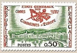 5e Session Des États Généraux Des Communes D'Europe, à Cannes. Vue De Cannes  50c. Rouge-orange Et Vert Y1244 - Ungebraucht