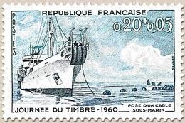 Journée Du Timbre. Navire Câblier Ampère  20c. +5 C. Bleu, Bleu-vert Et Bleu-noir Y1245 - Ungebraucht