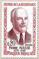 Héros De La Résistance (4e Série) Pierre Masse  20c. Rose Et Lilas-rose Y1249 - Ungebraucht