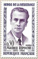 Héros De La Résistance (4e Série) Maurice Ripoche  30c. Violet Et Lilas Y1250 - Ungebraucht