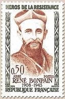Héros De La Résistance (4e Série) Abbé René Bonpain  50c. Olive Et Brun-rouge Y1252 - Ungebraucht