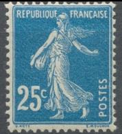 Type Semeuse Fond Plein Sans Sol, Grasses. 25c. Bleu (IA) Neuf Luxe ** Y140 - Nuevos
