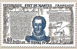 Grands Noms De L'Histoire. Henri IV (1553-1610) Et L'Edit De Nantes  80c. Bleu, Noir Et Violet Y1618 - Unused Stamps