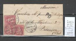 Suisse - Lettre De Porrentruy Pour Besançon - Doubs - Griffe PD -03/71 - 1862-1881 Sitted Helvetia (perforates)