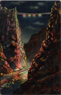 Colorado Royal Gorge Illuminated By Floodlight At Night Showing Suspension Bridge Curteich - Etats-Unis