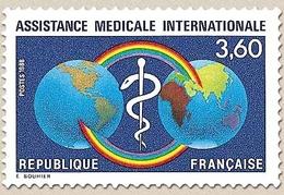 Assistance Médicale Internationale. Arc-en-ciel, Caducée Et Globe  3f.60 Bleu, Bleu Clair, Jaune Et Rouge Y2535 - Nuevos