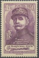 Au Profit Des Oeuvres De Guerre. F. Foch, Maréchal De France, De GB Et De Pologne. 1f. + 50c. Violet Neuf Luxe ** Y455 - Unused Stamps