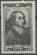 Célébrités Du XVIle Siècle. Blaise Pascal (1623-1662) 1f.20+2f.80 Noir Neuf Luxe ** Y614 - Unused Stamps