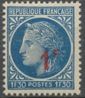 Timbre De 1945-47 (Cérès, No 678) Surchargé : 1f. Sur 1f.30 Bleu ( R) Neuf Luxe ** Y791 - Unused Stamps