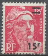 Timbre De 1951 (Marianne De Gandon, No 887) Surchargé. 15f. Sur 18f. Rose-carmin. Neuf Luxe ** Y968 - Unused Stamps