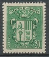 Andorre Français N°53, 20c. Vert NEUF** ZA53 - Nuevos