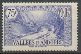 Andorre Français N°70, 75c. Outremer NEUF** ZA70 - Ungebraucht