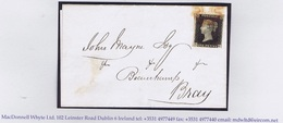 Ireland (GB Used In) Dublin 1840 Penny Black Plate 5 SG Used On Letter To Bray Red Maltese Cross Cancellation - Irlande