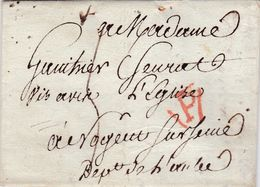 PSC De Paris (75) Pour Nogent-sur-Seine (10) - 7 Décembre 1814 - Taxe Manuelle 4 + Cachet P En Triangle Rouge Port Dû - 1801-1848: Precursori XIX