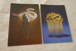 LOT DE 2 CARTES ..tresors Des Musees Sovietiques....CYGNE EN FEUTRE ...ET PEIGNE EN OR - Bellas Artes
