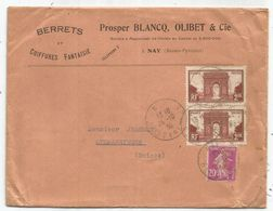 N° 190 PERFORE PB PROSPER BLANCQ BERRETS COIFFURE LETTRE + N°258X2 NON PERFORE NAY BASSES PYRENEES 1933 POUR SUISSE - France