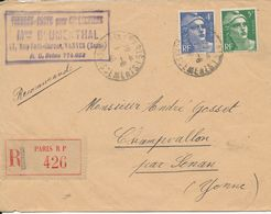France Registered Cover Sent To Senan Yonne Paris 1-8-1946 With Backside Cancel Senan Yonne 2-8-1946 - France