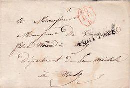 PSC De Paris (75) Pour Metz (57) - 29 Septembre 1821 - Marque Linéaire PORT-PAYE + Cachet Octogonal 60 P.P. E Rouge - 1801-1848: Precursori XIX