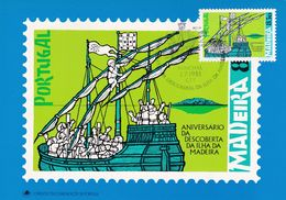 Portugal Madeira 1981 Maximum Card; History; Discovery Of Madeira; Sailing Ship: Art Painting; Th. De Mello - History