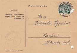 GG: Dienst: Portogerechte EF Auf Postkarte Justizkasse Warschau - Besetzungen 1938-45