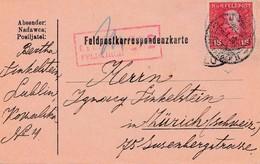 1918: Feldkorrespondenzkarte Lublin: Zensiert Feldkirch In Die Schweiz - Autres - Europe