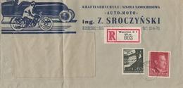 GG R-Brief Warschau Kraftfahrschule Auto-Moto, Portogerecht - Besetzungen 1938-45