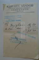 ZA291.18  Kerekes Sándor Nagykőrös  -invoice Ca 1940   Hungary - USA