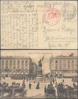 "Bataillon Allemand - Feldpostkarte (1914) + Cachet Rouge Avec Aigle ""Kraftwagenpark Der Marine * "" - Weltkrieg 1914-18"