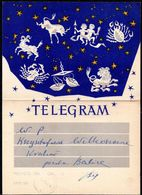 POLAND 1958 TELEGRAM SPECIAL OCCASION SIGNS OF THE ZODIAC TYPE 2 USED TÉLÉGRAMME TELEGRAMM MYTHICAL CREATURES ANIMALS - 1944-.... Republic