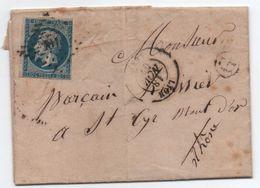 Lettre D'Ecully Boîte Rurale G Affranchie 20c Napoléon  LYON Rhône 1857 > Saint-Cyr Mont D'Or (avec Correspondance) - Marcophilie (Lettres)