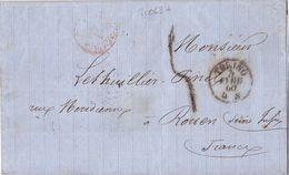 21063# ITALIE LETTRE ENTREE AMBULANT SARDAIGNE CULOZ Obl TORINO 1860 TURIN ROUEN SEINE MARITIME - Marcophilie (Lettres)