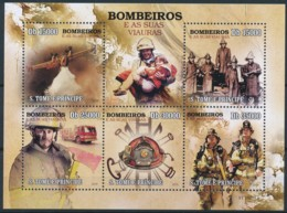 D - [401671]TB//**/Mnh-Sao Tomé-et-Principe 2009 - Véhicules De Pompiers, Avions, Camions - Pompieri