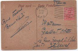 INDIA POSTAGE & REVENUE 1 Anna POST CARD BOMBAY G.P.O. 1920 Victoria Terminus G.I.P.Ry > FRANCE - India (...-1947)