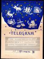 POLAND 1958 TELEGRAM SPECIAL OCCASION SIGNS OF THE ZODIAC TYPE 1 USED TÉLÉGRAMME TELEGRAMM MYTHICAL CREATURES ANIMALS - 1944-.... Republic