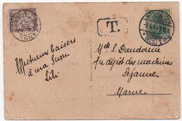 GERMANIA Carte Postale MULHOUSE ALSACE 1914 TAXE 10c Sézanne Marne - Taxes