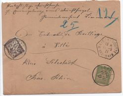 Lettre Taxe Simple Envoi De Service Sans Franchise MAISONSGOUTTE BAS-RHIN 1921 1ère Date Connue?  > Villé - Marcofilia (sobres)