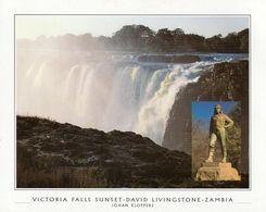 1 AK Sambia * Victoria Falls - Seit 1989 Weltnaturerbe Der UNESCO Mit Denkmal Für Livingstone Dem Entdecker Der Fälle * - Zambie