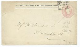 Great Britain Victoria Prepaid 1d Pink Squared Circle Birmingham H51 Cancel  Date Plugs On Envelope - 1840-1901 (Victoria)