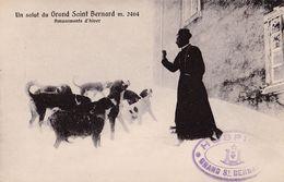 UN SALUT Du GRAND SAINT BERNARD - AMUSEMENTS D'HIVER : MOINE Et CHIENS - BROGGI / AOSTA - ANNÉE / YEAR ~ 1910 (af002) - VS Wallis