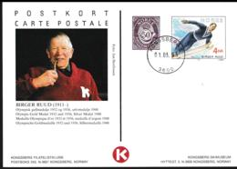 Norway Postal Stationary W/50 øre Stamps Birger Ruud Gold Medal 1932 & 1936 Posted Kongsberg 1993 (G112-14) - Winter 1932: Lake Placid
