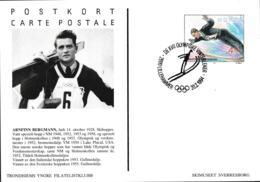 Norway Postal Stationary Arfinn Bergmann Gold Medal 1952 Posted Lillehammer Olympic Games 1994 (G112-14) - Winter 1952: Oslo