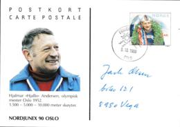 Norway Card Hjalmar Andersen, Gold Medal Skating Nordjunex90 Oslo Posted Frimerkets Dag (Stamp Day) Oslo 1990 - Winter 1952: Oslo
