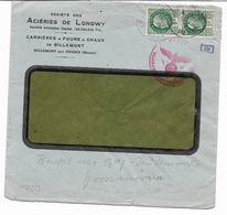 1941- ACIERIES DE LONGWY -BILLEMONT- Paire De PETAIN X 2F -censure Nazie -107 + AU DOS 214-243-317 ET 227  VOIR 2 SCANS - Marcofilia (sobres)
