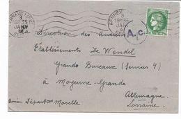 1941- CERES  2F50 Seul Lettre Censure Nazie A.c. Vers Ancien Départe; Moselle MOYEUVRE GRANDE Allemagne Lorraine - Marcofilia (sobres)