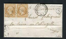 Rare Lettre Locale De Ville Sur Illon Par Dompaire Laviéville Pour Valdagolle ( Vosges 1857 ) Avec Une Paire De N° 13A - 1849-1876: Période Classique