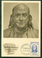 CM-Carte Maximum Card # 1956-FRANCE #Célébrités # Franklin Benjamin,Homme D´Etat,Physicien, Statesman,physician # - Maximumkarten