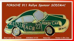SUPER PIN'S PORSCHE 911 Rallye : Sponsor DODIMAC  Rendy Car émail Base Or Vernissé, Format 3,5X1,5cm - Porsche